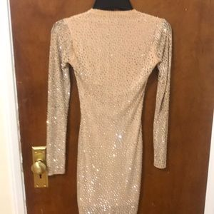 Windsor Dresses - Gold long sleeved short dress